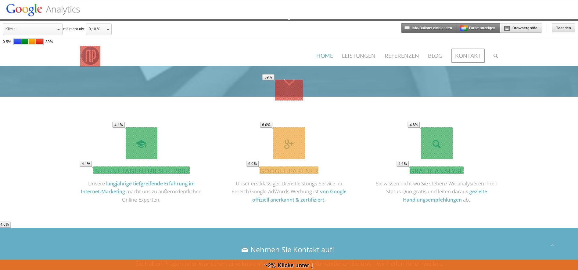 Google Analytics In-Page Analyse