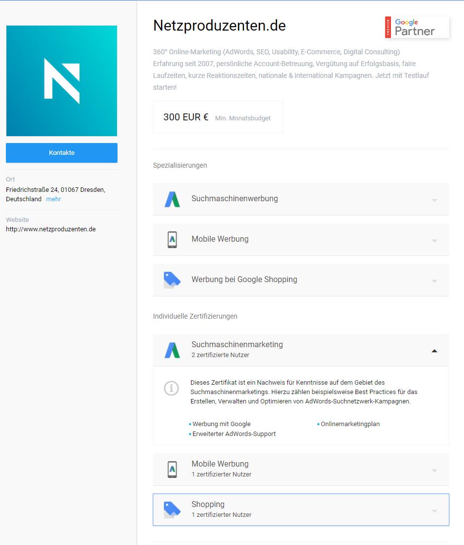 So sieht unser Eintrag als Google Partner-Agentur aus. Auf einen Blick können die User sehen, welchen Service wir anbieten und welche Zertifikate wir bestanden haben.