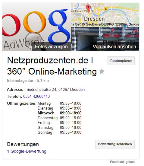 So sieht die Info-Box von Google aus. Je nach Branche erscheinen hier unterschiedliche Informationen, die ihr natürlich auch steuern könnt. Besonders wichtig: Die Bewertungen.