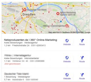 """So sieht die Infobox mit den Ergebnissen zur Suche """"Internetagentur Dresden"""" aus. Seit 2015 bildet Google hier nur noch die drei besten Ergebnisse ab."""