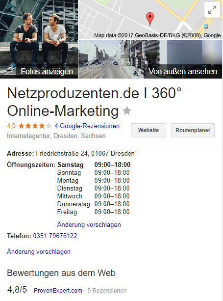 Profil bei Google My Business
