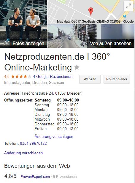Profil bei Google My Business