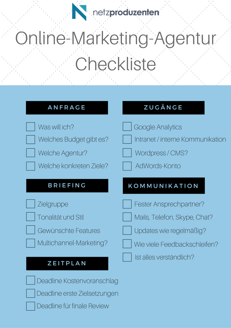 Checkliste Online-Marketing-Agentur