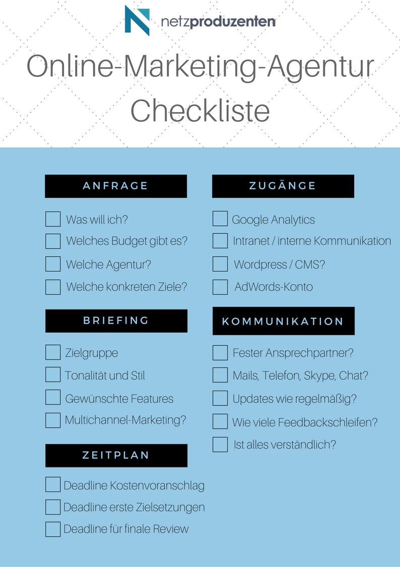 Checkliste Online-Marketing-Agentur