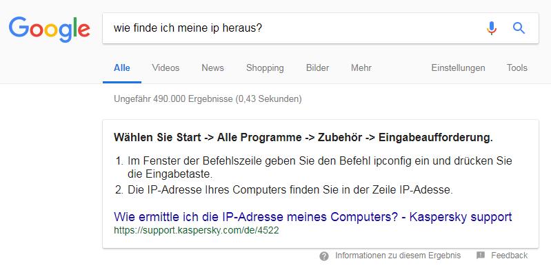 Noch sind sie sehr selten: Featured Snippets in Deutsch erscheinen nur bei ganz bestimmten Suchanfragen.