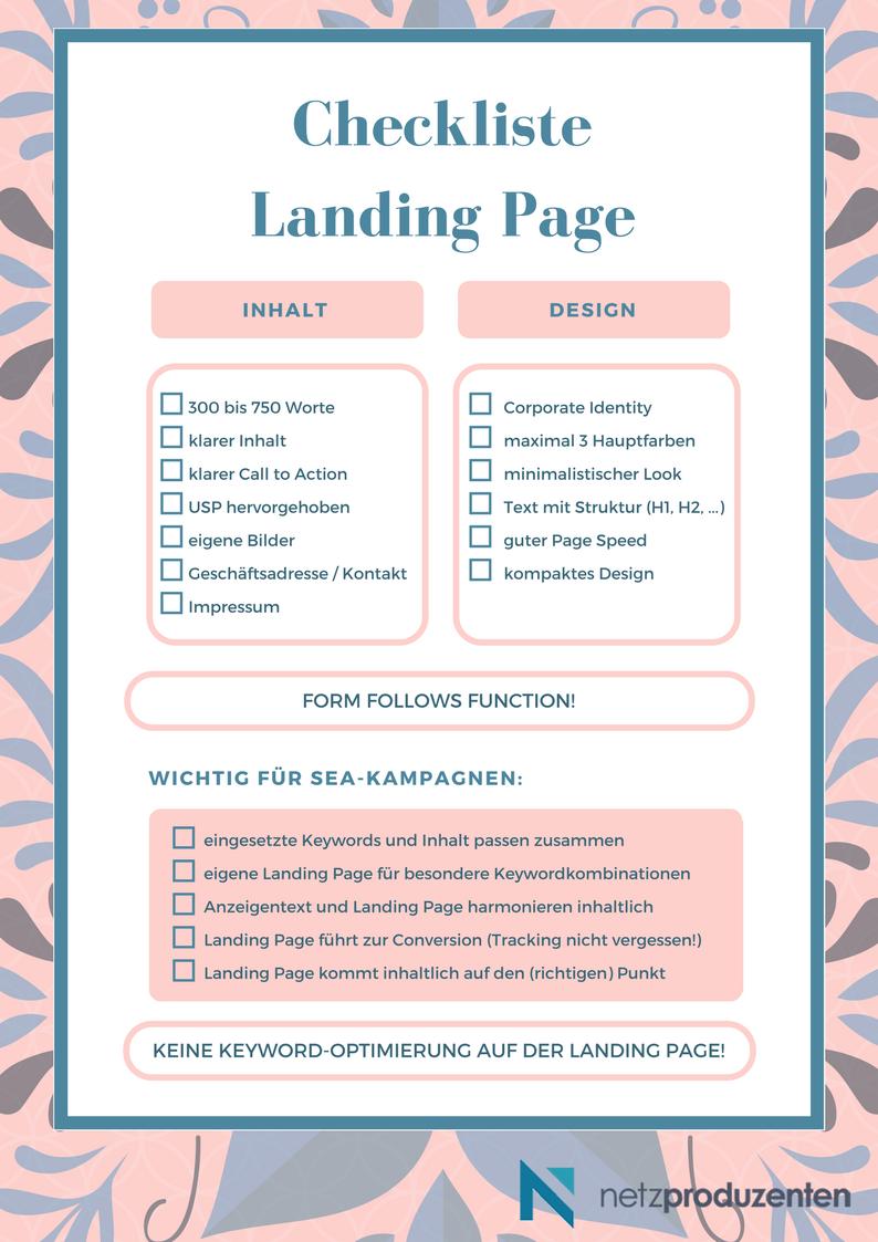 Die Checkliste für Deine Landing Page