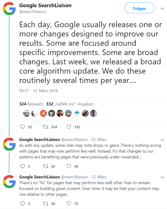 Google offizielles Statement zum Google Core Update aus dem März 2018.