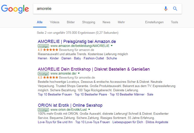 """So sieht Brand Bidding auf fremde Marken aus: Amazon und Orion haben Anzeigen für das Keyword """"Amorelie"""" geschalten und erscheinen jetzt auf Seite 2 der SERPs als Anzeige."""