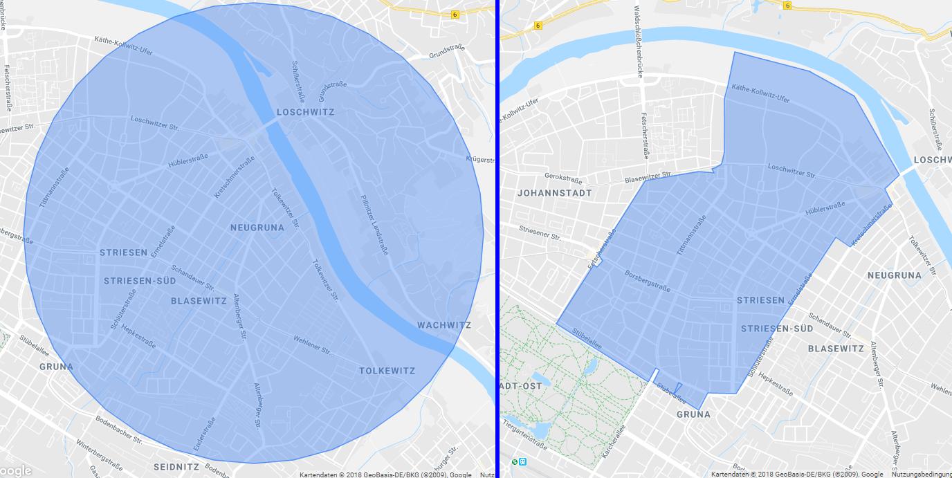 So sehen die beiden Optionen im Local SEA für den Umkreis um unser Büro in Dresden aus. Mit dem Postleitzahlen-Modus können wir Striesen exakt abpassen, während der Umkreis etwas flexibler ist.