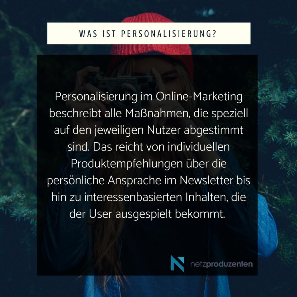 Personalisierung im Online-Marketing beschreibt alle Maßnahmen, die speziell auf den jeweiligen Nutzer abgestimmt sind. Das reicht von individuellen Produktempfehlungen über die persönliche Ansprache im Newsletter bis hin zu interessenbasierten Inhalten, die der User ausgespielt bekommt.