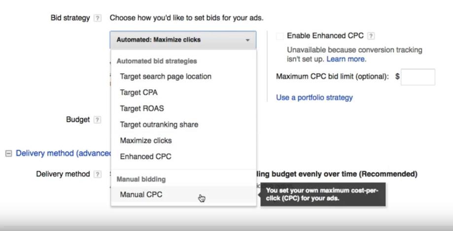 Smart Bidding: So sehen die automatischen Gebote in der Auswahl bei Google Ads aus