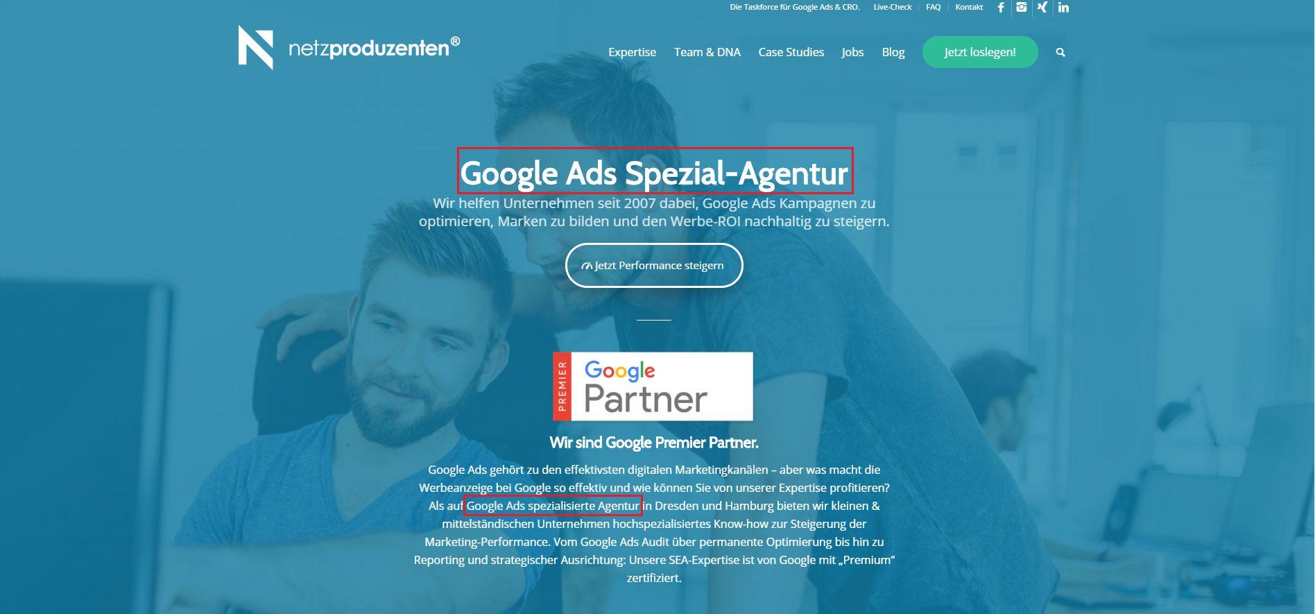 Unsere Landingpage für die Suchanfrage 'Google Ads Agentur'.