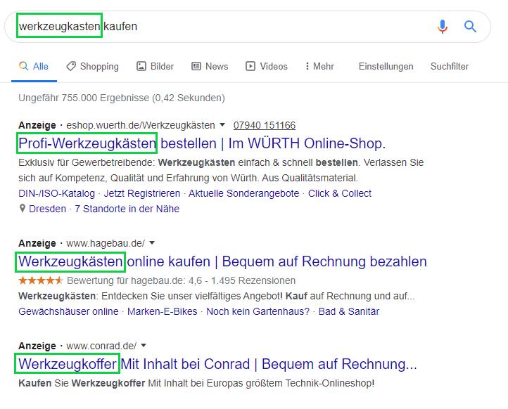 Suchergebnisseite für die Suchanfrage 'Werkzeugkoffer'.